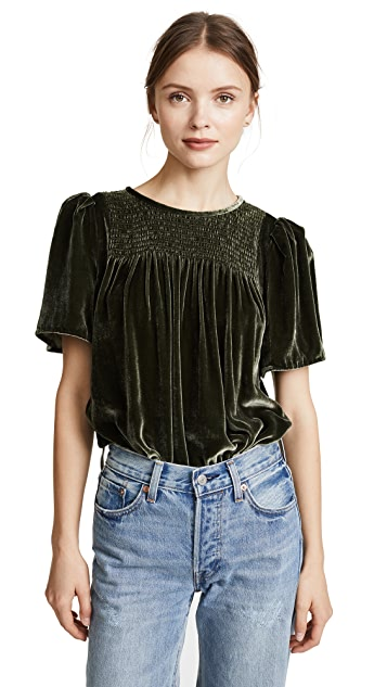Rebecca Taylor Short Sleeve Velvet Top