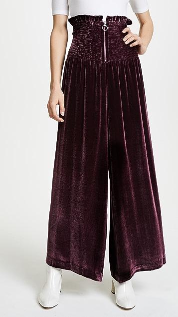 Rebecca Taylor Smocked Velvet Pants
