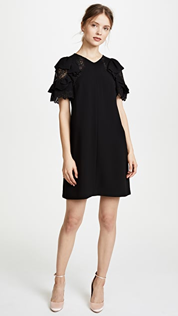 Rebecca Taylor Short Sleeve Crepe Lace Dress