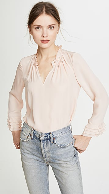 Rebecca Taylor Long Sleeve Ruffle Top