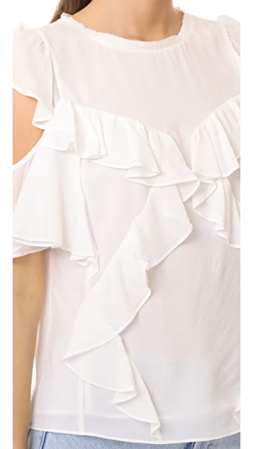 Rebecca Taylor Open Shoulder Silk Top