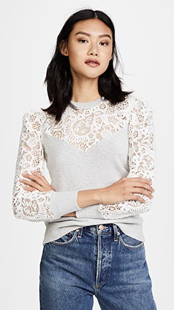Rebecca Taylor Lace Mix Sweater