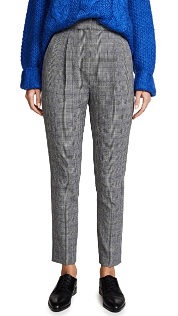 Rebecca Taylor Modern Check Pleated Pants