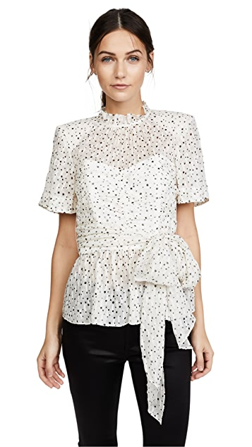 Rebecca Taylor Short Sleeve Star Tie Top