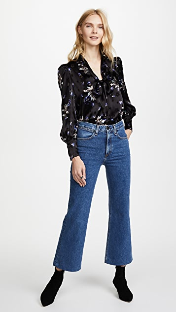 Rebecca Taylor Long Sleeve Violet Floral Top