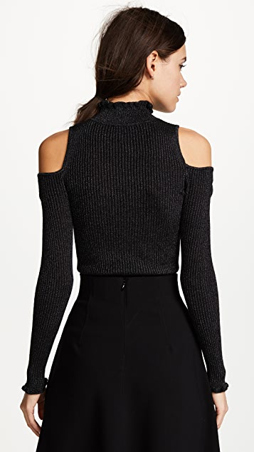 Rebecca Taylor Open Shoulder Metallic Pullover