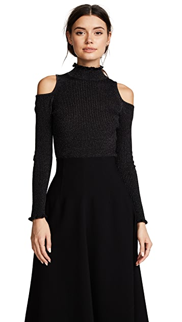 Rebecca Taylor Open Shoulder Metallic Pullover