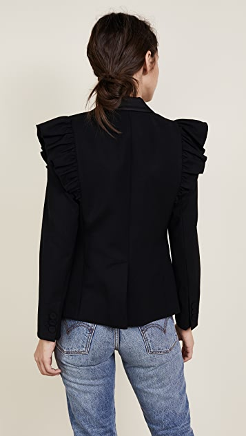 Rebecca Taylor Tuxedo Wool Ruffle Blazer