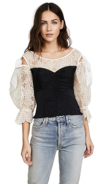 Rebecca Taylor Long Sleeve Malorie Top