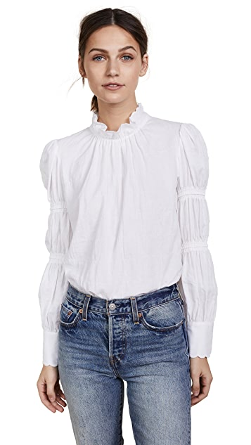 Rebecca Taylor Textured Twill Ruched Sleeve Top