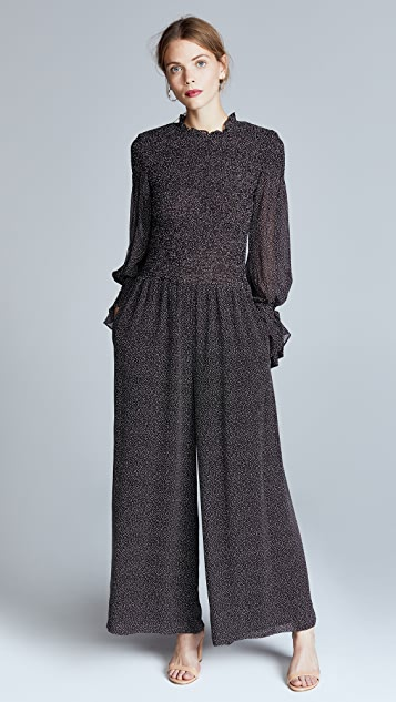Rebecca Taylor Long Sleeve Pebble Jumpsuit - Black Combo