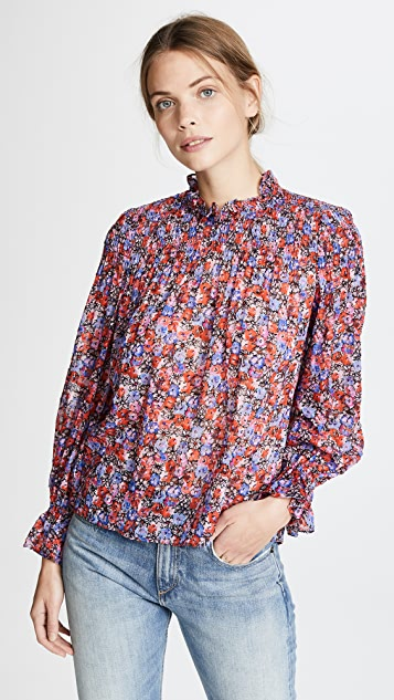 Rebecca Taylor Long Sleeve Cosmic Flower Top - Multi Combo