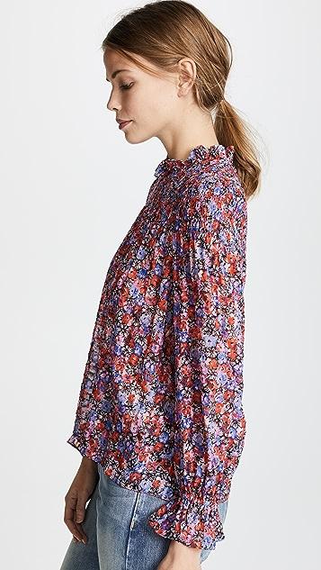 Rebecca Taylor Long Sleeve Cosmic Flower Top