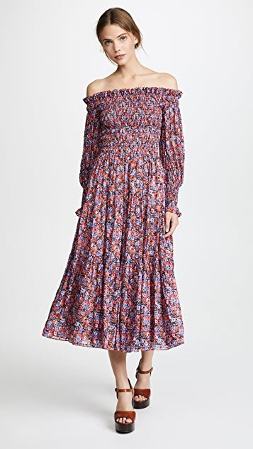 Rebecca Taylor Off Shoulder Cosmic Flower Dress