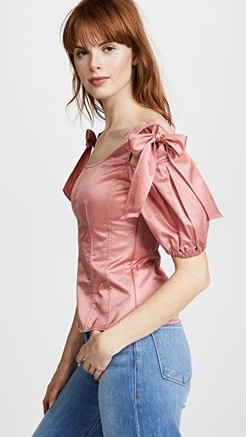 Rebecca Taylor Short Sleeve Sateen Top