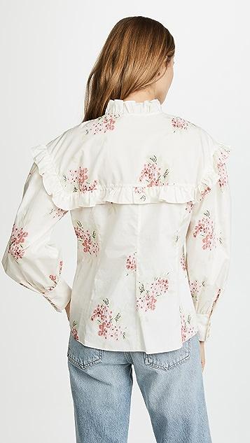 Rebecca Taylor Long Sleeve Maia Ruffle Top