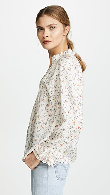 Rebecca Taylor Long Sleeve Vine Ruffle Top