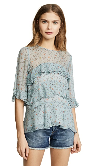 Rebecca Taylor Short Sleeve Vine Ruffle Top