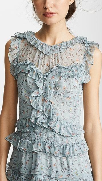 Rebecca Taylor Sleeveless Vine Ruffle Dress