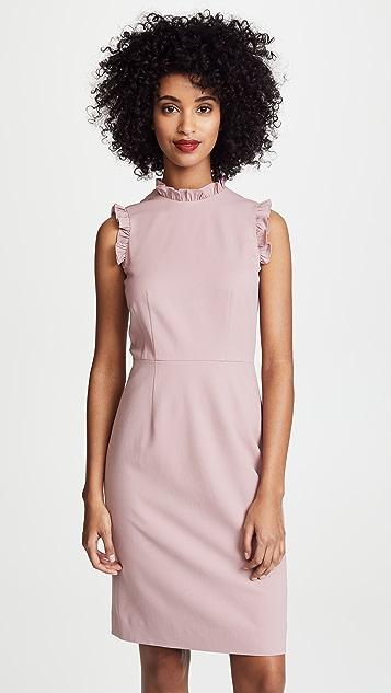 Rebecca Taylor Sleeveless Spring Ruffle Dress - Dusty Rose