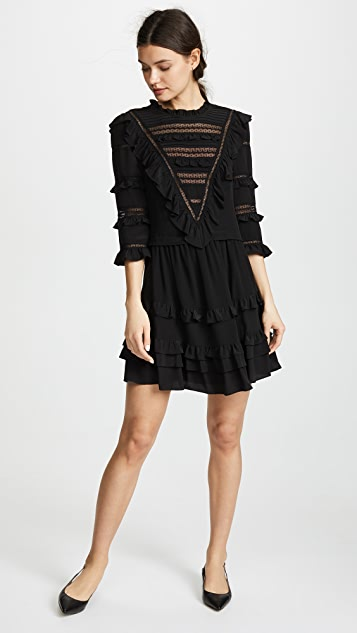Rebecca Taylor Long Sleeve Silk & Lace Dress