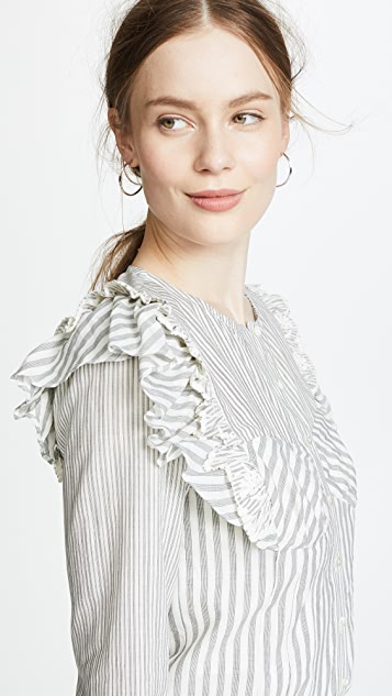 Rebecca Taylor Long Sleeve Stripe Eyelet Top