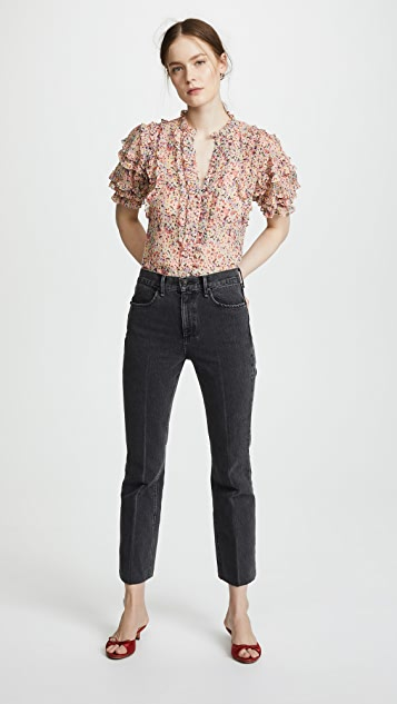 Rebecca Taylor Short Sleeve Margo Floral Top