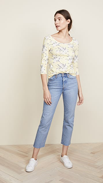 Rebecca Taylor Long Sleeve Lemon Rose Jersey Top