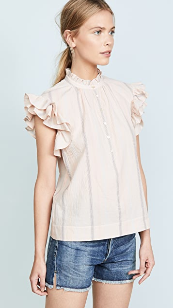 Rebecca Taylor Striped Ruffle Top