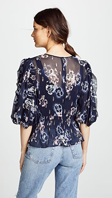 Rebecca Taylor Long Sleeve Faded Floral Top