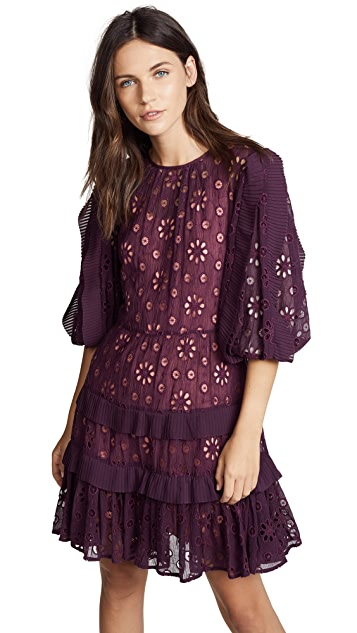 Rebecca Taylor Short Sleeve Pinwheel Dress