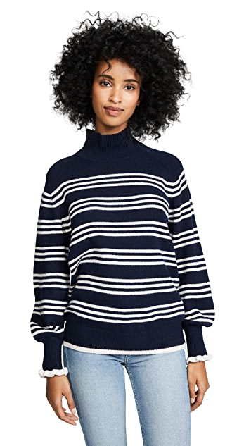 Rebecca Taylor Striped Turtleneck Pullover