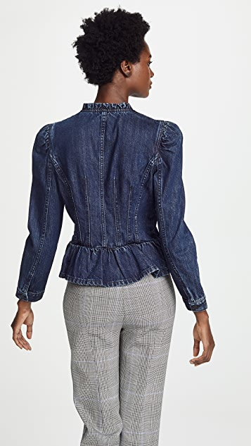 Rebecca Taylor Denim Puff Sleeve Jacket
