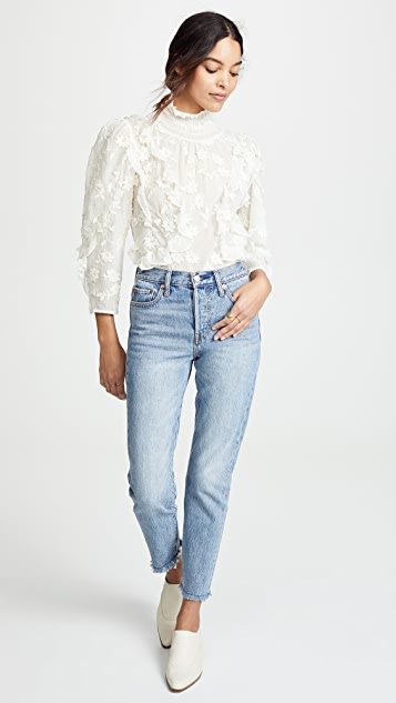 Rebecca Taylor Long Sleeve Silk Embroidered Top