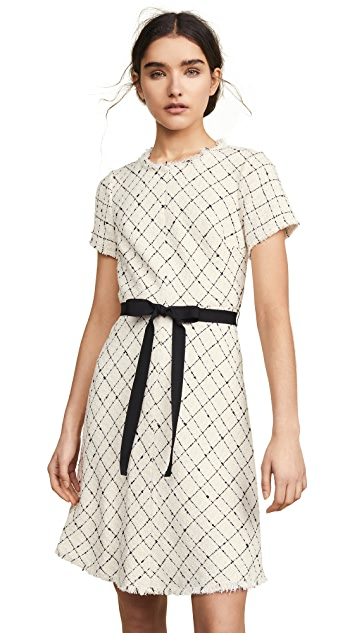 Rebecca Taylor Short Sleeve Plaid Tweed Dress