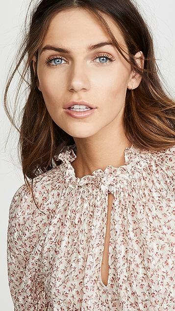 Rebecca Taylor Short Sleeve Francesca Ruffle Top