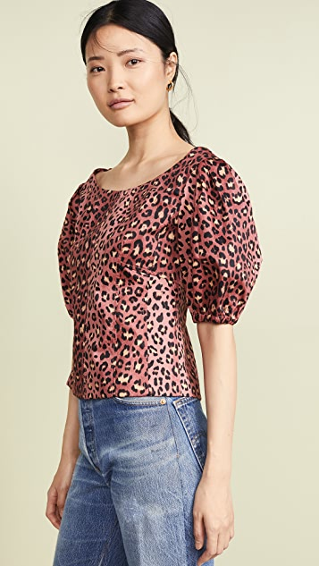 Rebecca Taylor Short Sleeve Leopard Top