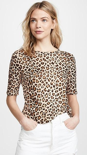 Rebecca Taylor Футболка из джерси с леопардовым принтом и короткими рукавами