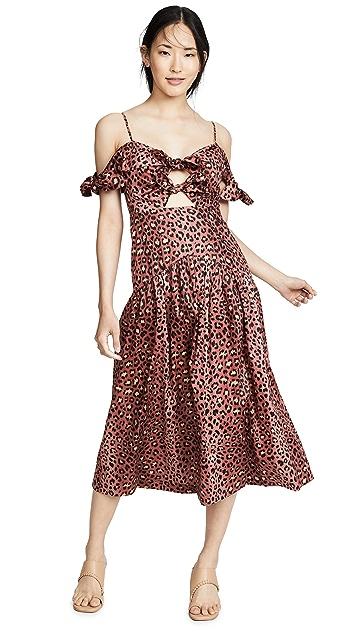 Rebecca Taylor Платье без рукавов с леопардовым принтом и бантом