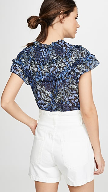Rebecca Taylor Short Sleeve Ava Ruffle Top