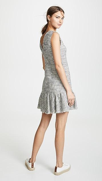 Rebecca Taylor Sleeveless Tweed V Neck Dress