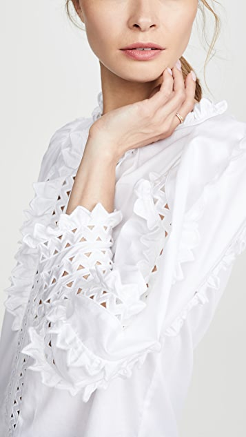 Rebecca Taylor Long Sleeve Petal Embroidered Top