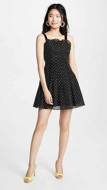 Rebecca Taylor Платье без рукавов Birdseye с рисунком в горошек