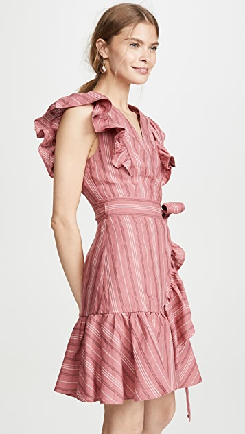 Rebecca Taylor 无袖条纹裹身连衣裙