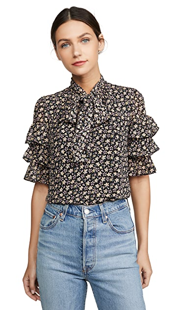 Rebecca Taylor Short Sleeve Louisa Ruffle Top