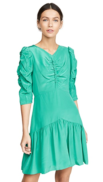 Rebecca Taylor Long Sleeve Silk Ruched Dress