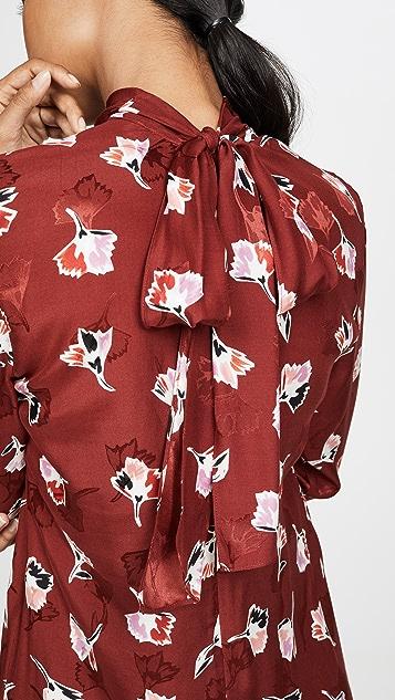 Rebecca Taylor Long Sleeve Paintbrush Ruffle Dress