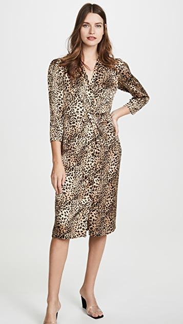 Long Sleeve Lynx Silk Dress by Rebecca Taylor