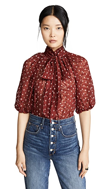 Rebecca Taylor Short Sleeve Sunrise Dot Top