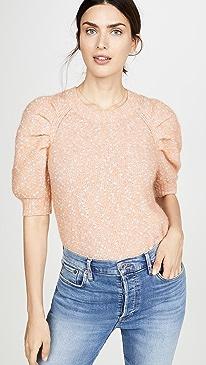 Short Sleeve Optic Tweed Pullover